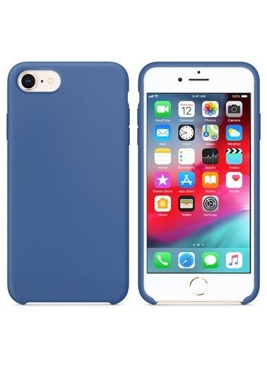 Microsonic Apple iPhone 7 Kılıf Liquid Lansman Silikon Çini Mavisi Mavi